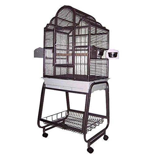 A&E Cage 703 Platinum Victorian Top Bird Cage with Removable Stand, 22″ x 18″