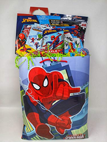 Happy PREMADE Spiderman Spider Man Spider-MA Easter Birthday Baskets Kids Girls Boys Girl Toddlers Gift Egg Toddler Gifts Themed Set Artificial Grass Decorations Toys Stuffers Package Party Favors]()