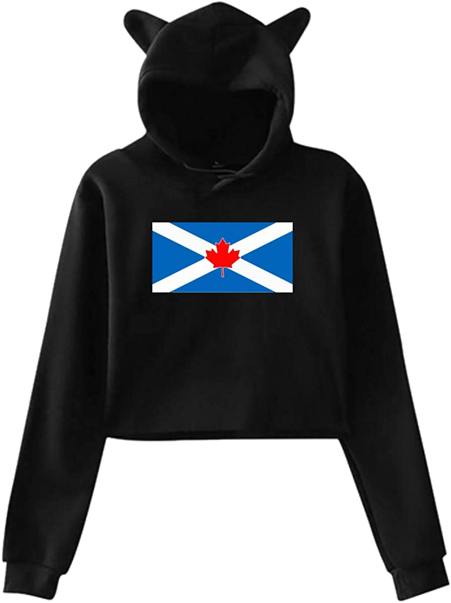 Womens Girls Cat Ear Pullover Hoodie Canada Scotland Flag Mashup Cropped Sweatshirts