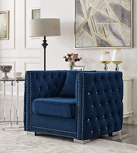 Iconic Home Christophe Club Chair Velvet Upholstered Button Tufted Nailhead Trim Shelter Arm Design Silver Tone Metal Block Legs Modern Transitional