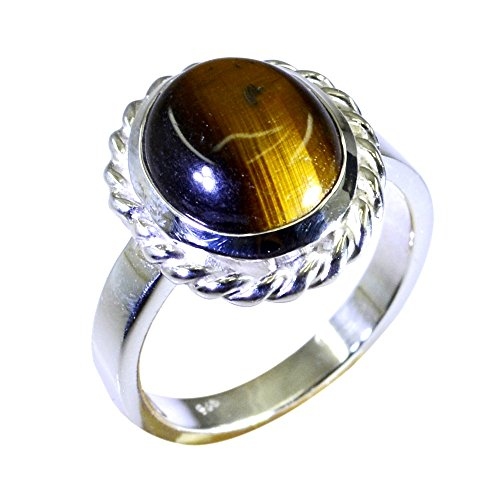 Genuine Tiger Eye Sterling Silver Ring For Women Oval Shape Bezel Setting Size 5,6,7,8,9,10,11,12 - Cabochon Sterling Silver Handmade Ring