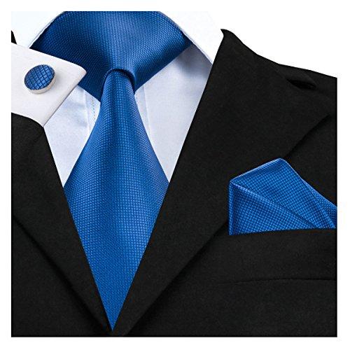 Dubulle Classic Blue Mens Silk Woven Ties Set Pocket Square Plain Solid Color Plaid Pattern Necktie