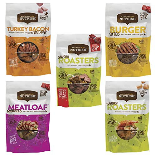 Rachael Ray Nutrish Variety Pack Bundle (5 Pack) Chewy Treats (3 Oz Each) Burger Bites, Savory Roasters - Roasted Chicken, Meatloaf Morsels, Turkey Bacon Recipe and Savory Roasters - Beef Roast Recipe