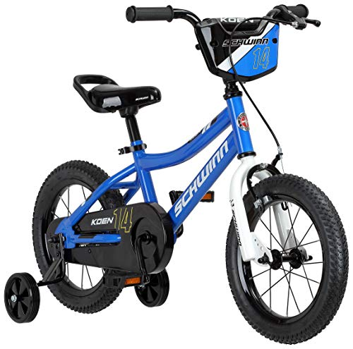 Schwinn Koen Boy's Sidewalk Bike with Training Wheels, Saddle Handle, Chainguard, and Number Plate, 14-Inch Wheels, Blue, Featuring SmartStart Technology - Designed to Fit Children's Proportions