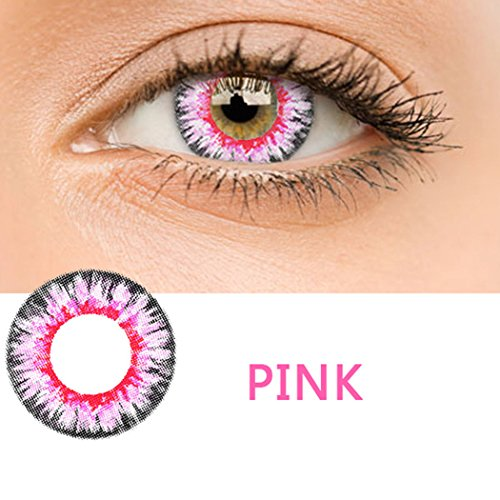 Women Multicolor Cute Charm and Attractive Fashion Contact Lenses Cosmetic Makeup Eye Shadow(Pink) by skine