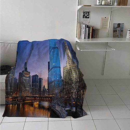 maisi Landscape Digital Printing Blanket USA Chicago Cityscape with Rivers Bridge and Skyscrapers Cosmopolitan City Image Summer Quilt Comforter 62x60 Inch ()