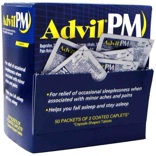 Advil PM Individual Sealed 2 Coated Caplets in a Packet (Box of 50 Packets) Total 100 Caplets - Caplets Box