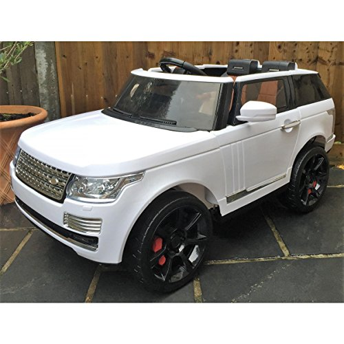 RIDE ON PLANET LARGE POWERFUL! RANGE ROVER style WHITE! REAL RUBBER WHEELS! With double Motors! WITH REMOTE CONTROL ELECTRIC CAR high speed 5,5 km/h! Ride on toy car from two - Real Motor Electric