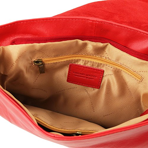 Tuscany Leather TL Bag Borsa morbida a tracolla con nappa Nude Rosso Lipstick
