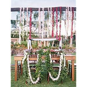 Meiliy 1 Pack 6.56 FT Artificial Hydrangea Flower Vine Wisteria Vines Cattleya Flowers Plants for Home Hotel Office Wedding Party Garden Craft Art Decor, Red 3