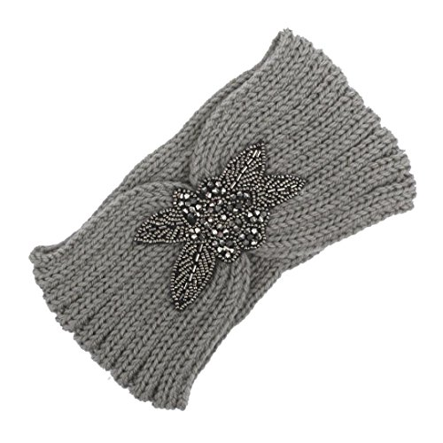 Qisc Women Knitted Headband Braided Crochet Cable Knit Winter Hairband Head Wrap With Crystal Dotted (Gray)