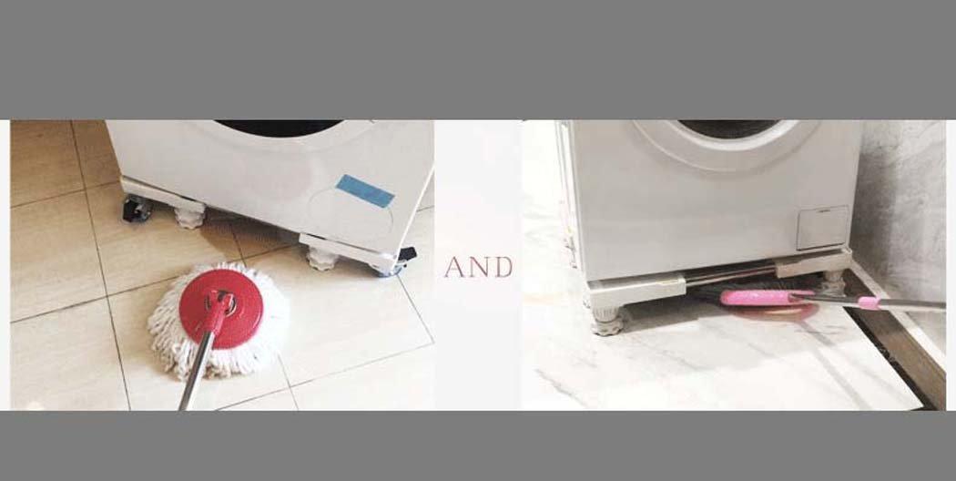 DSHBB Placa Base de la Lavadora, elevación automática de Heightening Heightening de Heightening Stand, Soporte telescópico, para secador, Lavadora y refrigerador (Color : Blanco) 2be254
