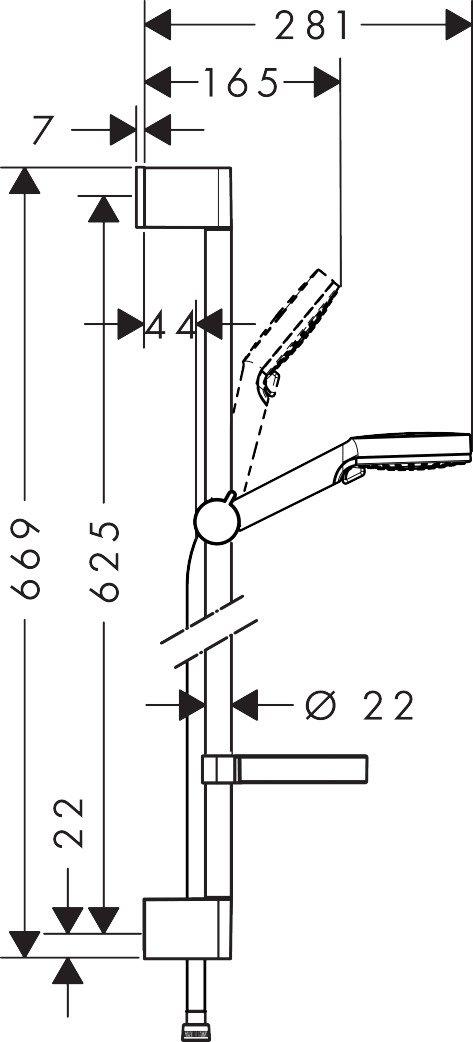 0,65 m wassersparend Wei/ß//Chrom hansgrohe Crometta Duschset