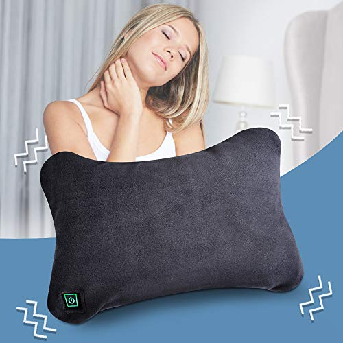 Travel Pillow - Travel Friendly Vibration Pillow Power Bank (Included), Compact, Lightweight, Ultra Soft MicroPlush with 100℉ Cozy Warmth for for Pain/Fatigue Relief, Hand Washable (12
