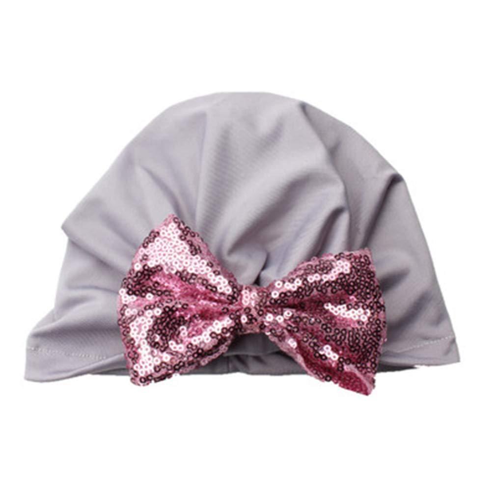 MISOWN 0-4 Years Newborn Baby Girls Turban Hat Headband Soft Nursery Beanie Sequin Bow 11 Colors