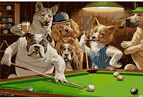 Pintura Por Números Mr. Dog Jugando Billar Para El Hogar Salón ...