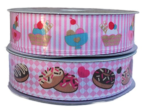 Ice Cream Sundae and Sprinkled Donuts Dessert Themed Decorative Craft and Party Gift Wrapping Ribbon Bundle (Pink) by LUV RIBBONS