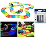 266 Piece Glow in the Dark Bend-A Path Flexible Track Playset for Kids, 2 SUV Cars & 2 AA Batteries Included,1 Carry Bag & 1 Bonus 4 Pack AA Batteries thumbnail