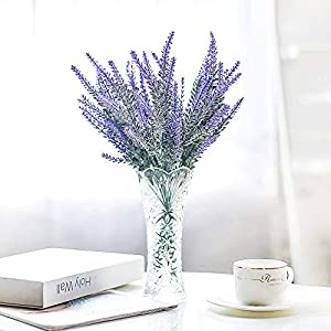 MARJON FlowersArtificial Lavender Flowers Fake Real Touch Lavender Bouquet for Wedding Party Home Outdoor Decoration (Lavender-6PCS) 46
