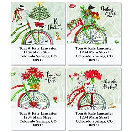 amazon com christmas bicycle personalized return address labels