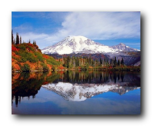 Mount Rainier Lake Reflection with Snow Mountain Scenery Landscape Art Print Poster (16x20) (Scenic Posters)