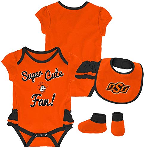 Outerstuff Oklahoma State University Creeper, Bib and Bootie Set Infant Set (0-3 M)