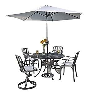 Bowery Hill 6piezas Juego de comedor Patio con paraguas en color gris