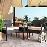 Barton 3PCS Patio Chair Set Patio Wicker Rattan Bistro Outdoor Chair Seat Thick Cushion w/Glass Coffee Table Set