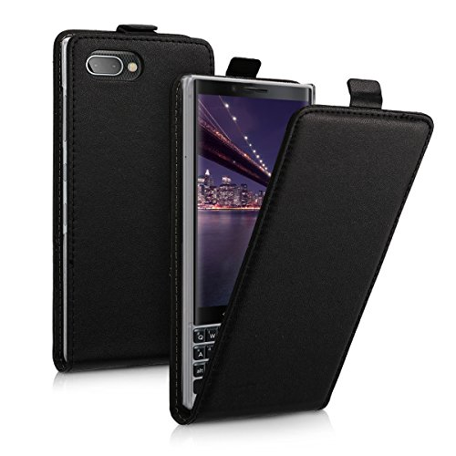 kwmobile Vertical Flip Case for BlackBerry KEYtwo (Key2) - PU Leather Protective Flip Cover with Magnet - Black