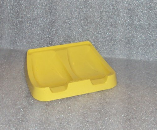 vintage-tupperware-gadget-double-spoon-rest-retro-kitchen-daffodil-yellow