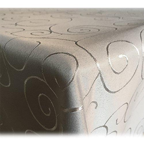 JEMIDI Tischdecke Ornamente Seidenglanz Edel Tisch Decke Tafeldecke 31 Größen und 7 Farben Hellgrau 130x260