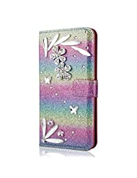 Funyye 3D Bling Flower Diamond Wallet Leather Case for Samsung Galaxy A6 Plus 2018,Rainbow Pink Premium Glitter Crystal Shiny Rhinestone PU Leather Protective Cover Case,Multifunctional Magnetic Flip with Stand Credit Card Holder Slots Case for Samsung Galaxy A6 Plus 2018 + 1 x Free Screen Protector