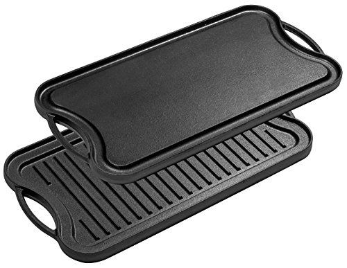 Seasoned Rectangular Cast Iron Grill - Bruntmor, Pre-Seasoned Cast Iron Reversible Grill/Griddle Pan, 20-inch x 10-inch
