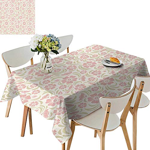 UHOO2018 Spillproof Fabric Tablecloth Tage Old Fashioned Floral Tern Silhouettes Briar Shrubs Roses Square/Rectangle Washable Polyester,50 x102inch ()