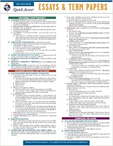 Essays And Term Papers   REAu0027s Quick Access Reference Chart (Quick Access  Reference Charts) Lam Chrt Edition