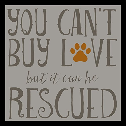 Buyartforless Framed Rescued Love by Brandi Fitzgerald 36x36 Art Print Poster Textual Art Dog Rescue Poster You Cant Buy Love But it Can be Rescued