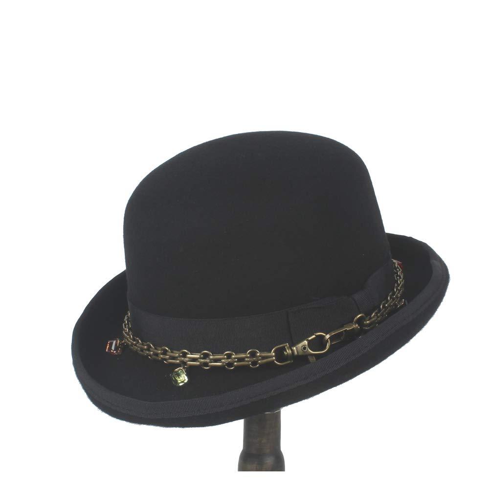 LL Retro Men Women Unisex Steampunk 100% Wool Bowler Hat Elegant Crushed Dome Hat Luxury Soft Hat Party Hat (Color : Black, Size : 55CM)