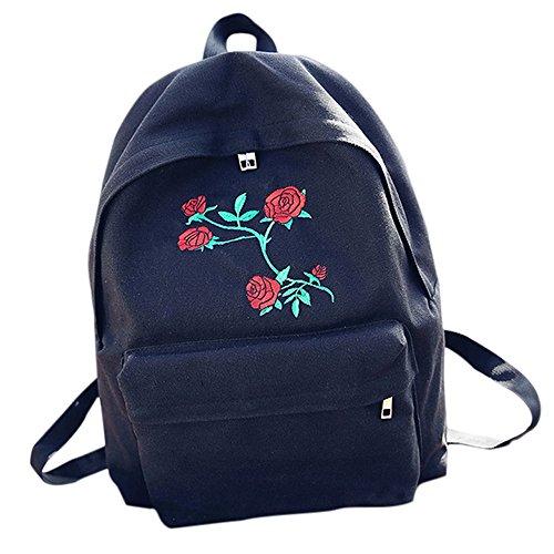 School Bag,Han Shi Women Embroidery Flowers Canvas Travel Backpack Casual Bag Bookbag (Black, L)