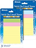 40 Count 3'' x 3'' Lined Stick On Notes - 3/Pack 144 pcs sku# 423150MA