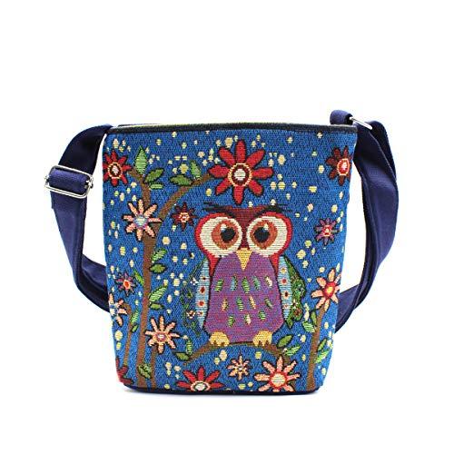 Canvas Crossbody Bag Shoulder Purse Embroidery Owl Satchel Boho Sling Bag for Women Girls