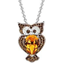 Crystaluxe Owl Pendant Necklace with Brown Swarovski Crystals in Sterling Silver, 18""