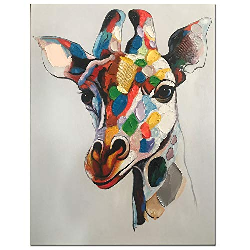 Fishpig Arts - Colorful Giraffe Wall Art Canvas Oil Painting Frame 100% Hand Painted Animal Wall Picture Stretched Giclee Decor Ready to Hang for Bedroom Children 20x24inch(50x60cm) ()