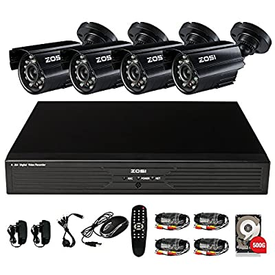 ZOSI 8CH CCTV System Kit 960H Recording Home Security DVR 4PCS 800TVL Waterproof Day&Night Color CMOS Cameras Long Night Vision Surveillance Smart Security Kit 500GB HDD