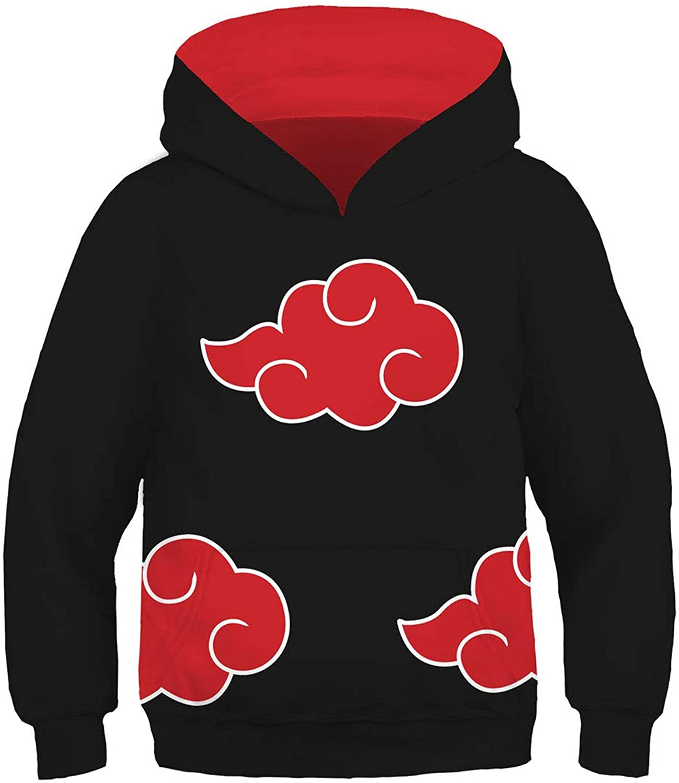 UU-Style Mens Kid Naruto Akatsuki Cloud Long Sleeve Jacket Uchiha Itachi Cosplay Costume Hoodie Sweatshirt