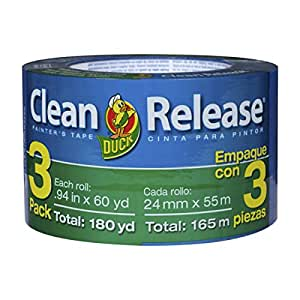 Duck Brand Clean Release Painter's Tape, 3-Pack, Each Roll 0.94 in. x 60 yd., Blue (240180)