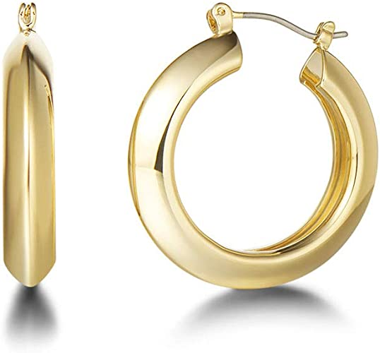 10k Solid Yellow Gold Twist High Polished Hoop Earrings 25MM