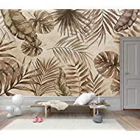Tropical Brown Leaves and Banana Palm Leaves Wallpaper,Tropical Leaf Banana Wallpaper Mural Background, Living Room, Bedroom,Peel and Stick