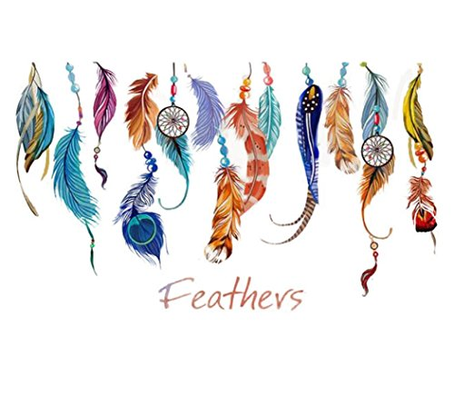 Iuhan® Fashion Classic Creative Dream Catcher Feather Wall Sticker Art Decal Mural
