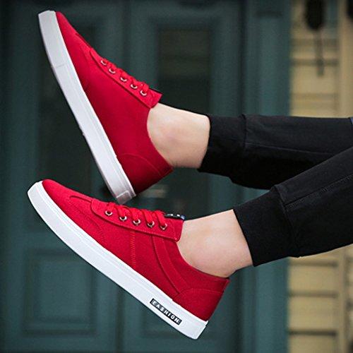 maschile casual di scarpe YaNanHome traspiranti tendenza uomo Size scarpe Color coreano stile stile da 40 Red scarpe Nuove tela scarpe Red EWqvZqO