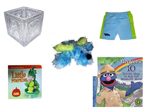 Children's Gift Bundle - Ages 0-2 [5 Piece] Includes: B-A-B-Y Block Container Heavy Glass, Circo Infant Swim Shorts Hibiscus Size L 24 Months 22-25 lbs, Furry Blue Dog Plush, Little Pumpkins Giant P by Secure-Order-Marketplace Gift Bundles